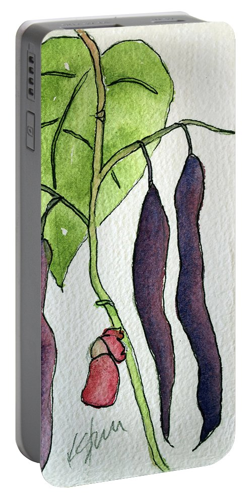 Blue Coco Beans Portable Battery Charger featuring the painting Blue Coco Beans by Kathy Sturr