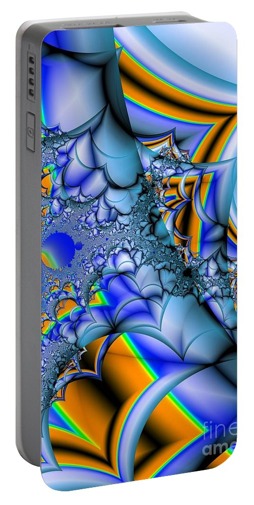 Blue Portable Battery Charger featuring the digital art Blue Complimentary by Ron Bissett