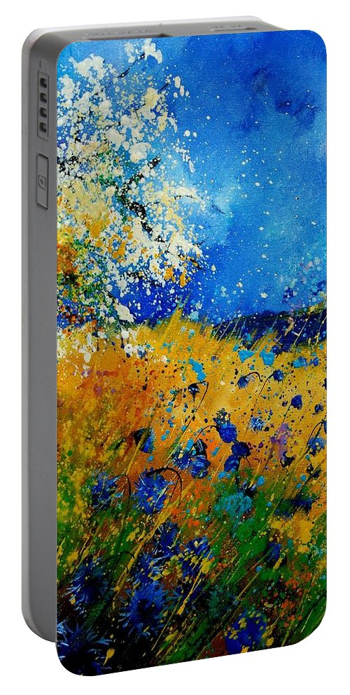 Poppies Portable Battery Charger featuring the painting Blue Cornflowers 450108 by Pol Ledent