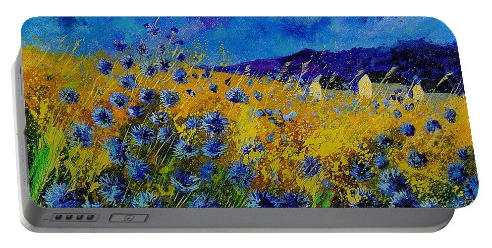 Poppies Portable Battery Charger featuring the painting Blue Cornflowers by Pol Ledent