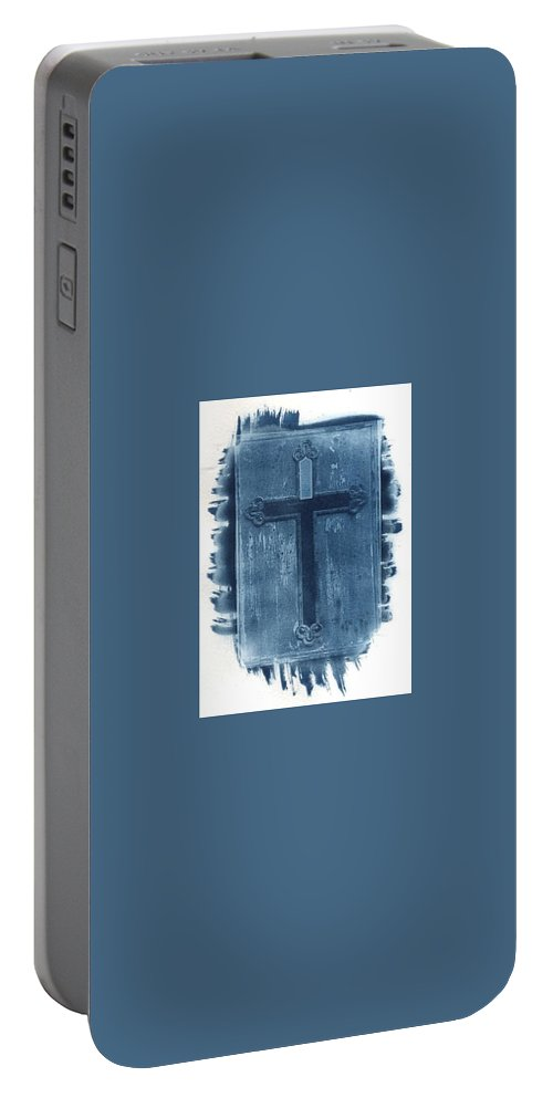 Cyanotype Portable Battery Charger featuring the photograph Blue Cross by Jane Linders