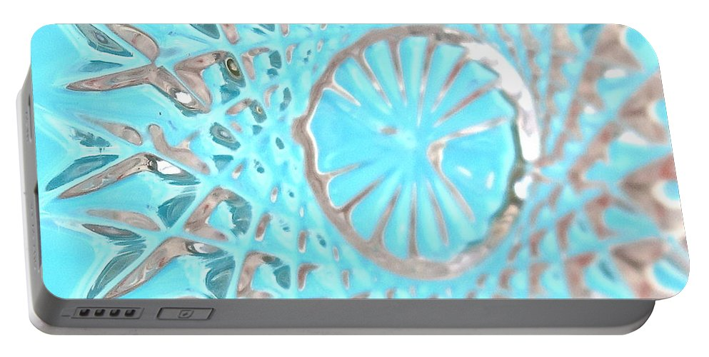Abstract Portable Battery Charger featuring the photograph Blue Crystal Snowflake by Bonnie See