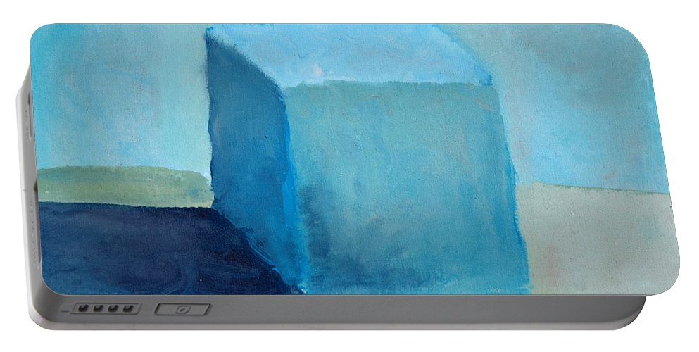 Blue Portable Battery Charger featuring the painting Blue Cube Still Life by Michelle Calkins