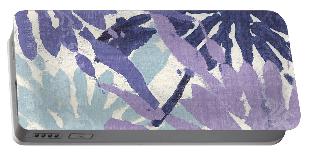 Ikat Portable Battery Charger featuring the painting Blue Curry II by Mindy Sommers