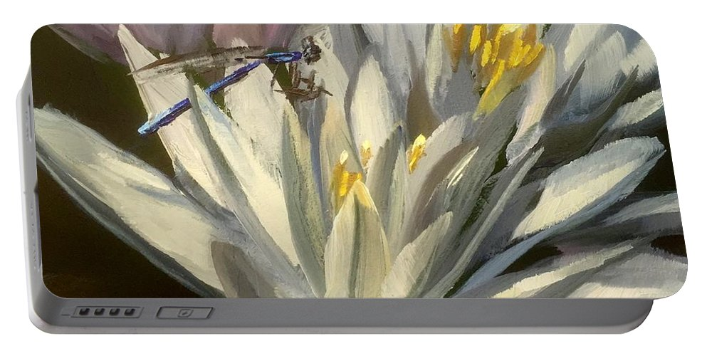 Water Lilies Portable Battery Charger featuring the painting Blue Damselfly by Gary Bruton