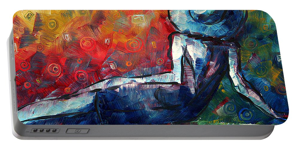 Abstract Portable Battery Charger featuring the painting Blue Daze Original Madart Painting by Megan Duncanson