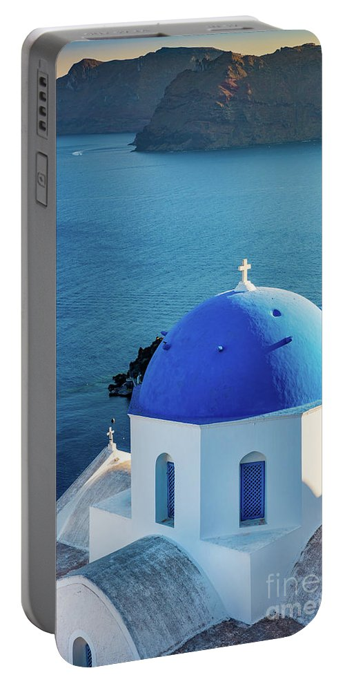 Aegean Sea Portable Battery Charger featuring the photograph Blue Dome by Inge Johnsson