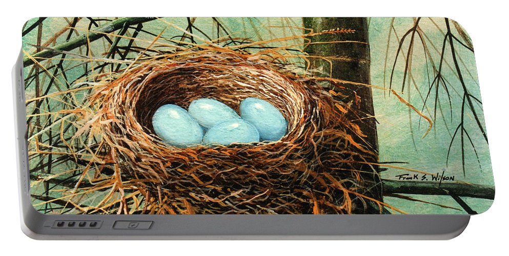 Wildlife Portable Battery Charger featuring the painting Blue Eggs In Nest by Frank Wilson