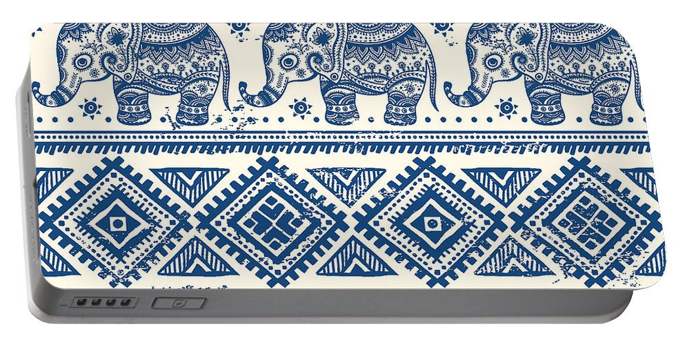 Blue Portable Battery Charger featuring the digital art Blue Elephant With Ornaments Design by Long Shot