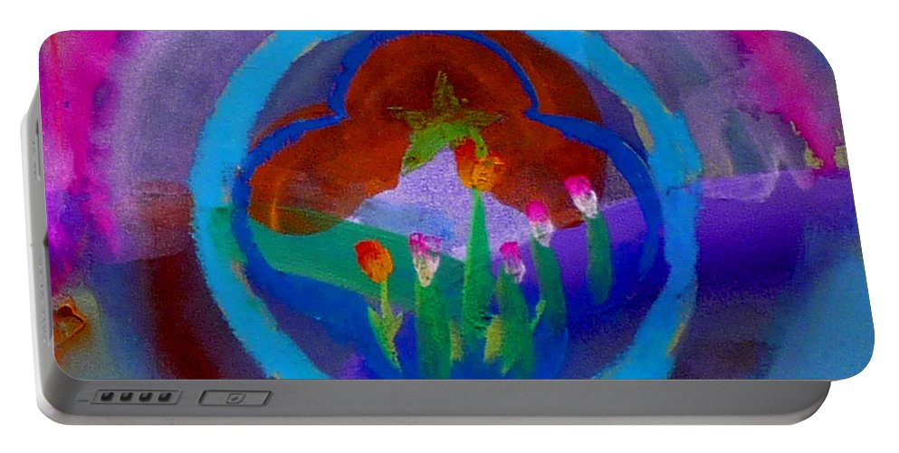 Love Portable Battery Charger featuring the painting Blue Embrace by Charles Stuart