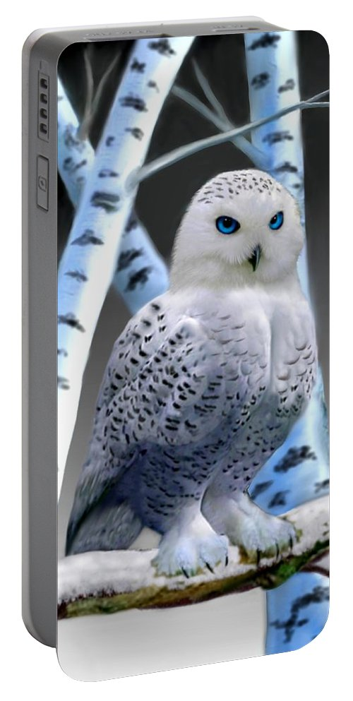 Blue-eyed Snow Owl Portable Battery Charger featuring the digital art Blue-eyed Snow Owl by Glenn Holbrook