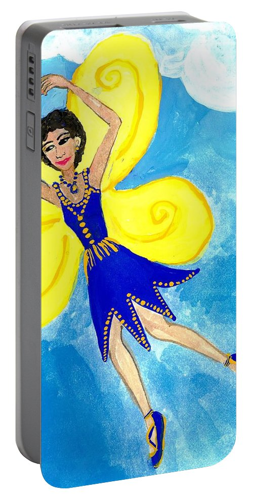 Sue Burgess Portable Battery Charger featuring the painting Blue Fairy Detail Of Duck Meets Fairy Ballet Class by Sushila Burgess