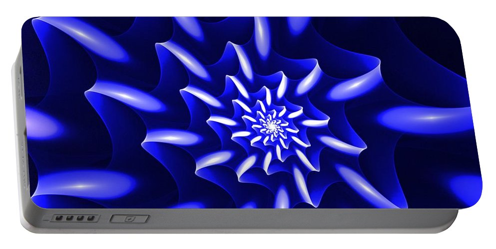 Digital Painting Portable Battery Charger featuring the digital art Blue Fantasy Floral by David Lane