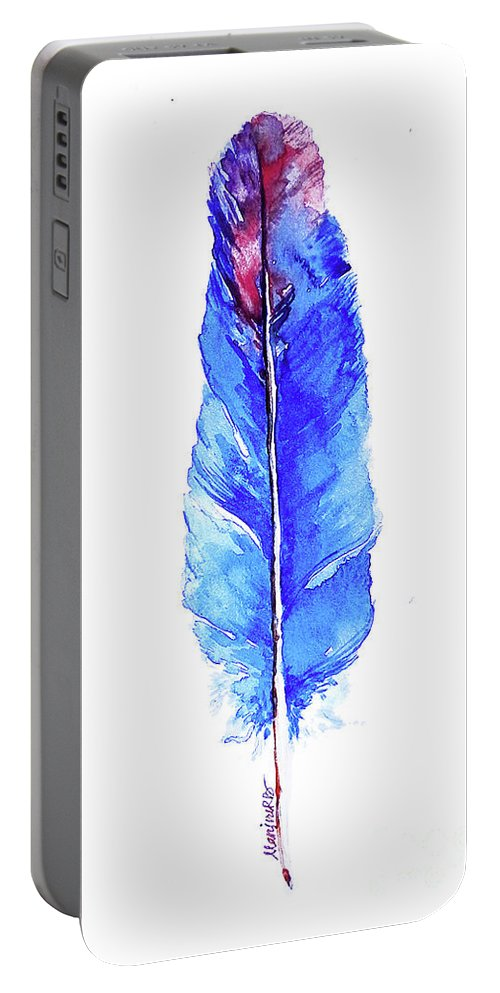 Nature Portable Battery Charger featuring the painting Blue Feather by Gallery Hermana