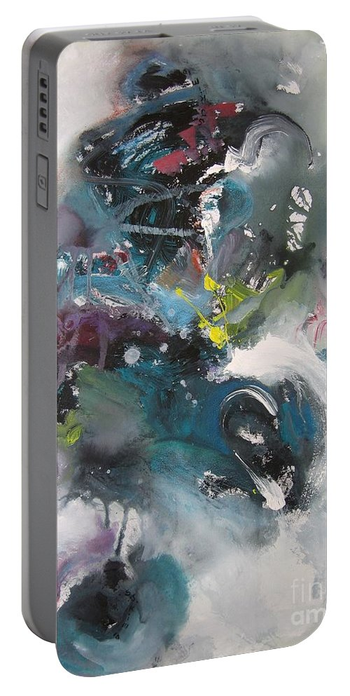Abstract Paintings Portable Battery Charger featuring the painting Blue Fever15 by Seon-Jeong Kim