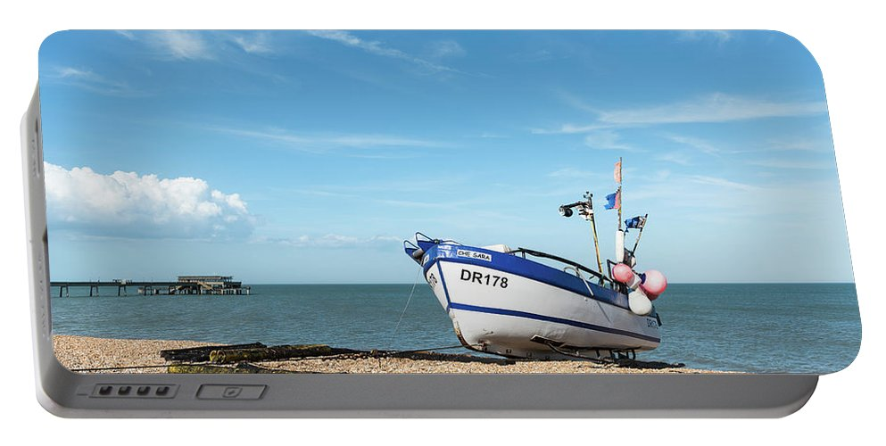 Boat Portable Battery Charger featuring the photograph Blue Fishing Boat by Michalakis Ppalis