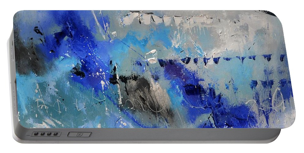 Abstract Portable Battery Charger featuring the painting Blue Flight Abstract by Pol Ledent