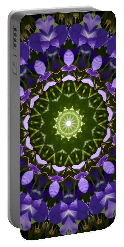 Blue Flowers Kaleidoscope Portable Battery Charger featuring the photograph Blue Flowers Kaleidoscope by Cynthia Woods
