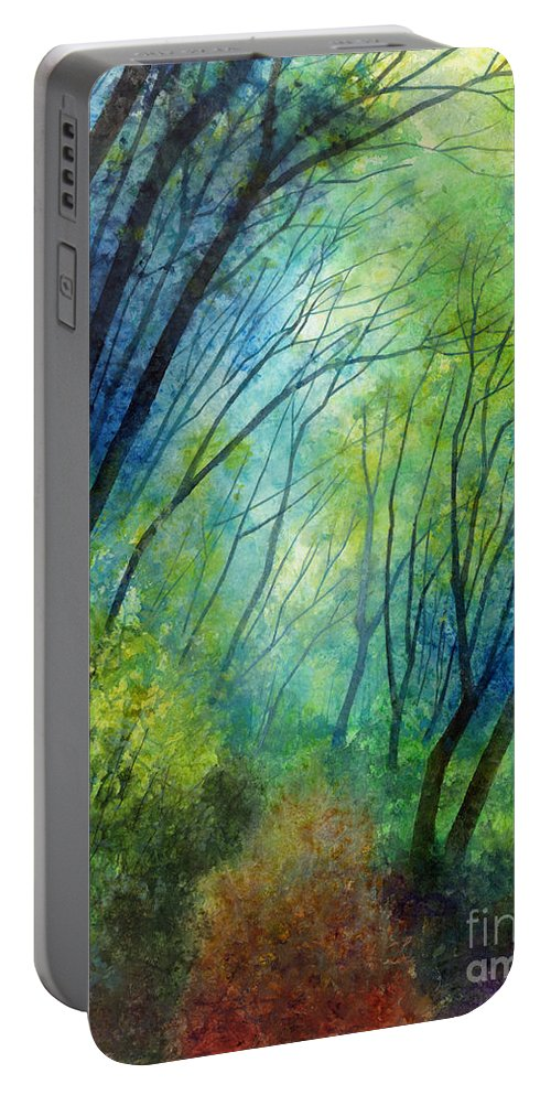Blue Portable Battery Charger featuring the painting Blue Fog by Hailey E Herrera