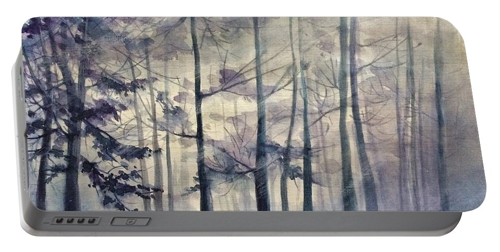 Landscape Portable Battery Charger featuring the painting Blue Forest In Winter by Gulina Oksana