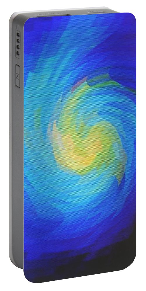 Blue Portable Battery Charger featuring the digital art Blue Galaxy by Ian MacDonald