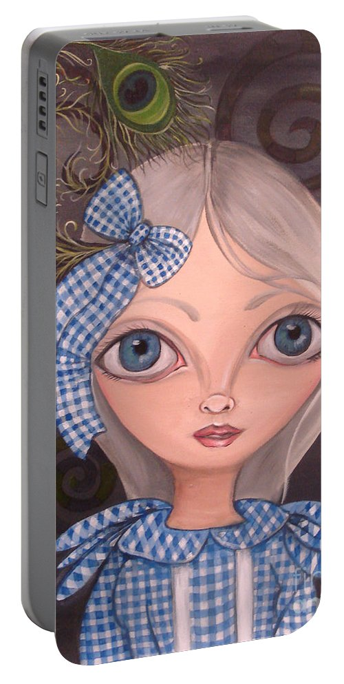 Art Portable Battery Charger featuring the painting Blue Gingham And Peacock Feathers by Jaz Higgins