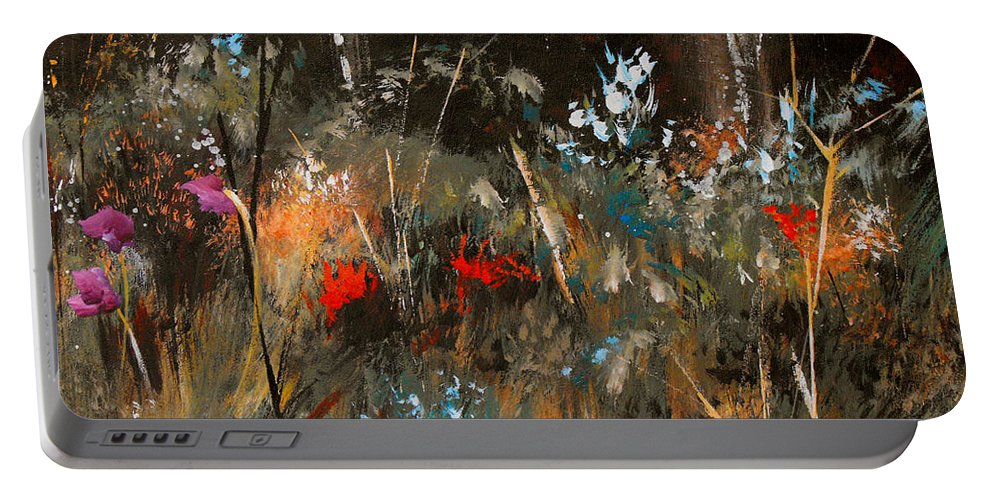 Abstract Portable Battery Charger featuring the painting Blue Grass And Wild Flowers by Ruth Palmer