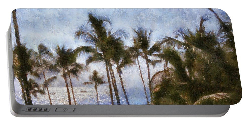 Blue Portable Battery Charger featuring the painting Blue Hawaii by Paulette B Wright