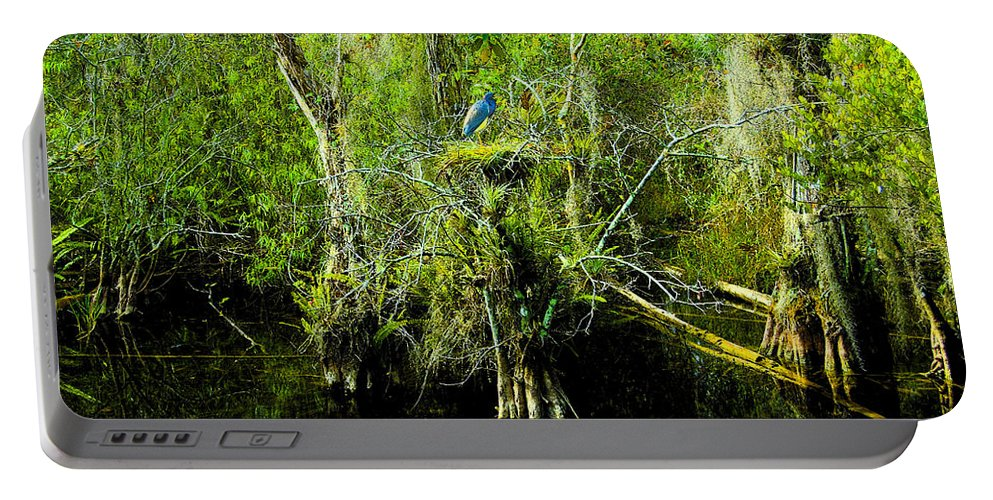 Art Portable Battery Charger featuring the painting Blue Heron by David Lee Thompson