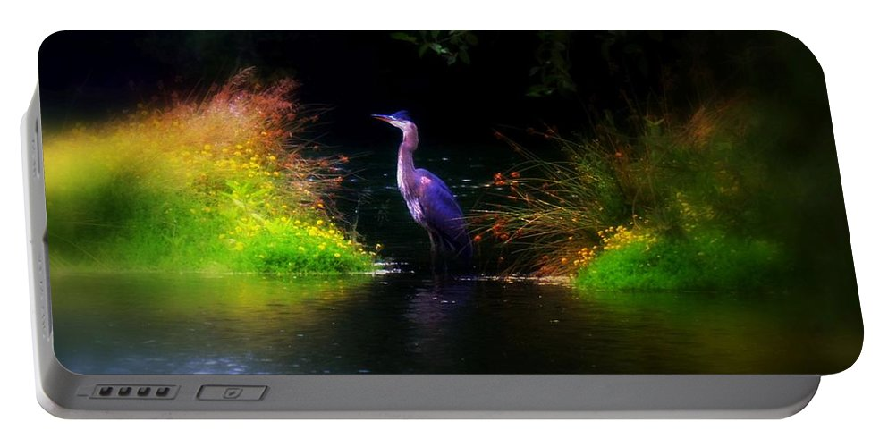 Heron Portable Battery Charger featuring the photograph Blue Heron by Lori Seaman