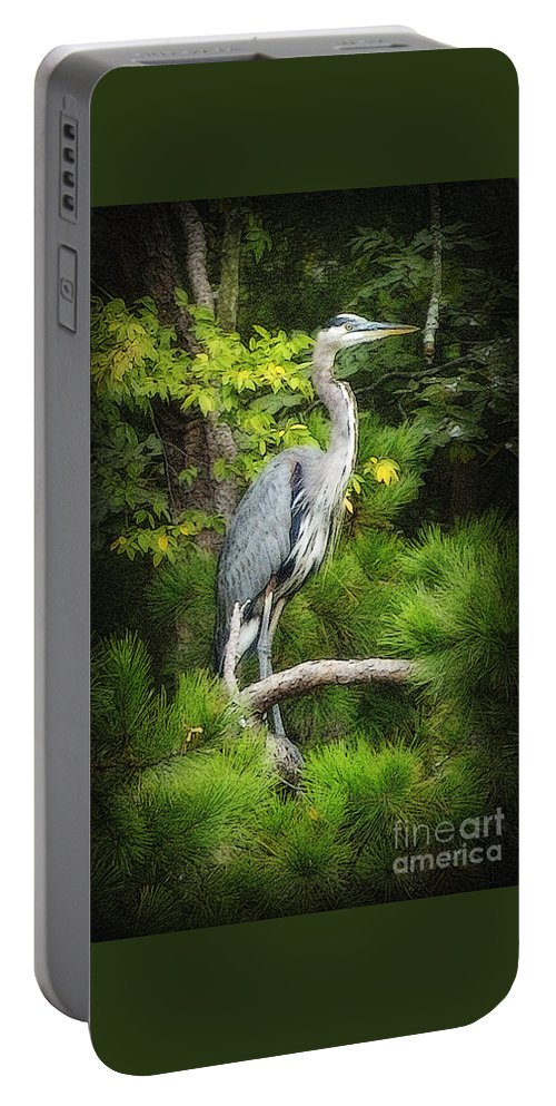 Heron Portable Battery Charger featuring the photograph Blue Heron by Lydia Holly