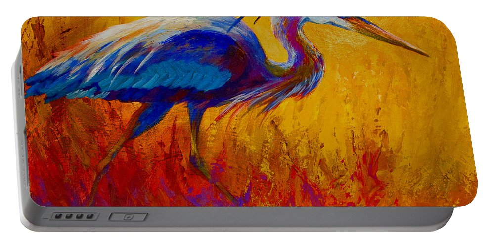Heron Portable Battery Charger featuring the painting Blue Heron by Marion Rose