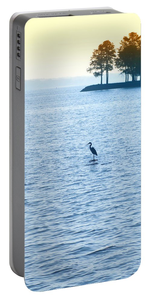 Saint Portable Battery Charger featuring the photograph Blue Heron On The Chesapeake by Bill Cannon