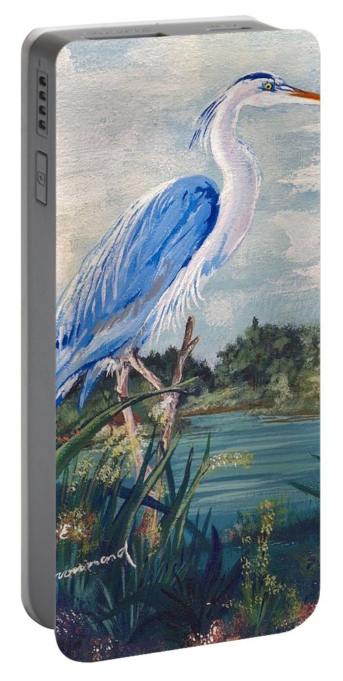 Egret Portable Battery Charger featuring the painting Blue Heron by Stephen Broussard