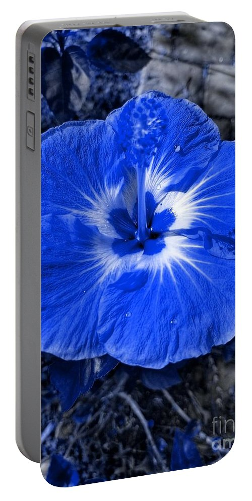Blue Portable Battery Charger featuring the photograph Blue Hibiscus by Rachel Hannah