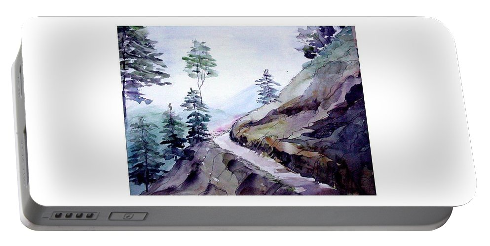 Landscape Portable Battery Charger featuring the painting Blue Hills by Anil Nene