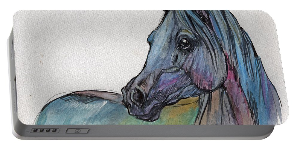 Portable Battery Charger featuring the painting Blue Horse by Angel Ciesniarska