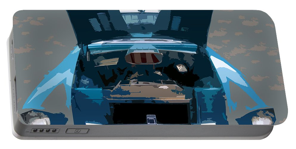 Hot Rod Portable Battery Charger featuring the painting Blue Hot Rod by David Lee Thompson