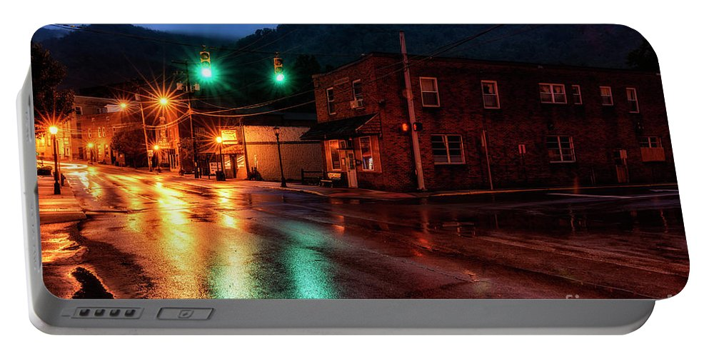 Main Street Portable Battery Charger featuring the photograph Blue Hour In Webster Springs by Thomas R Fletcher