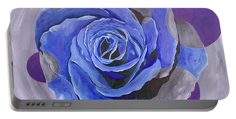 Acrylic Portable Battery Charger featuring the painting Blue Ice by Herschel Fall