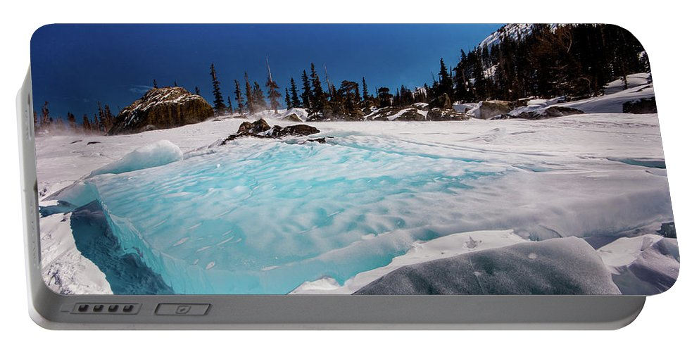 Landscape Portable Battery Charger featuring the photograph Blue Ice Sheet - Lake Hiayaha by Rob Lantz