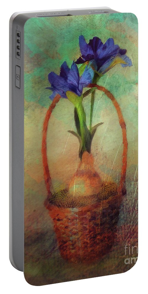 Iris Portable Battery Charger featuring the digital art Blue Iris In A Basket by Lois Bryan