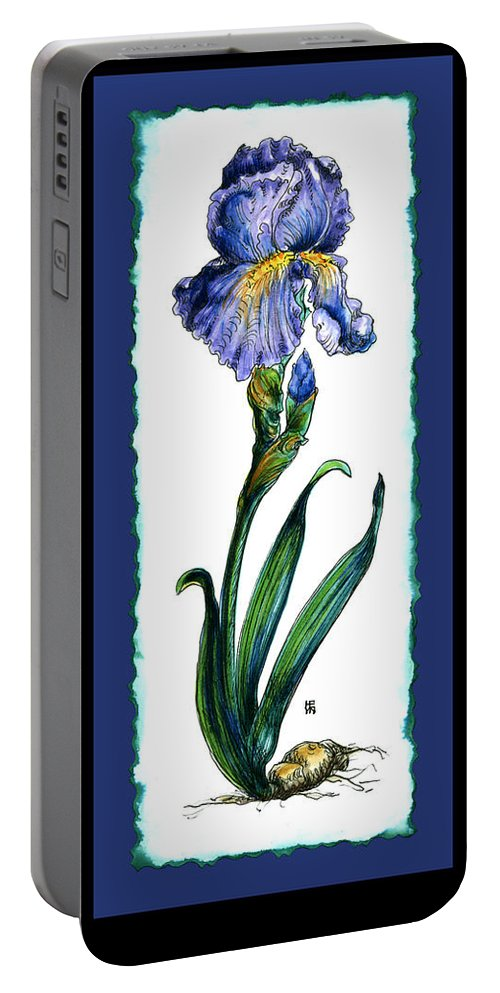 Blue Portable Battery Charger featuring the painting Blue Iris by Shirley Heyn