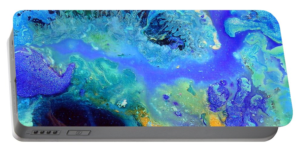Blue Isles Portable Battery Charger featuring the painting Blue Isles by Dawn Hough Sebaugh
