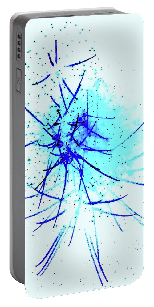 Blue Portable Battery Charger featuring the digital art Blue Kiss by Ronald Irwin