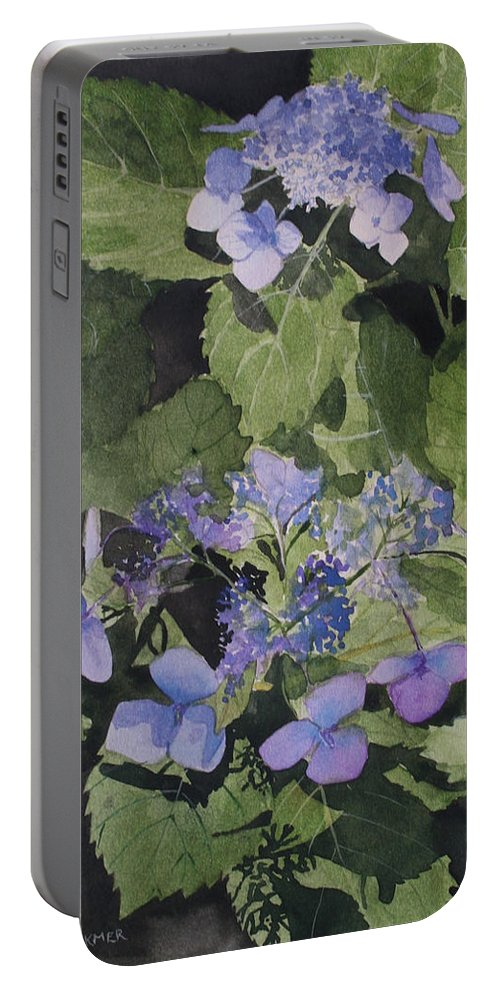 Flowers Portable Battery Charger featuring the painting Blue Lace by Jean Blackmer