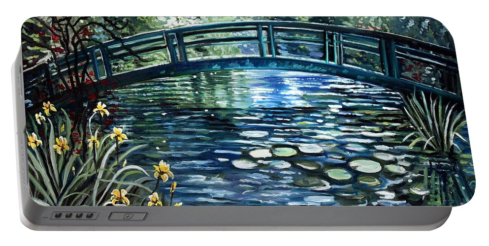 Impressionistic Portable Battery Charger featuring the painting Blue Lagoon by Elizabeth Robinette Tyndall