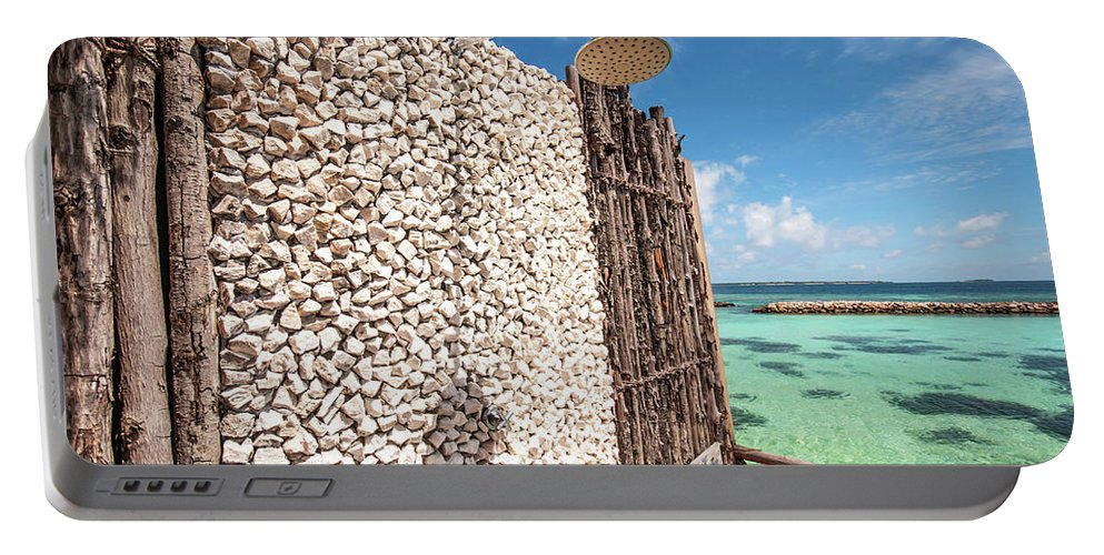 Jenny Rainbow Fine Art Photography Portable Battery Charger featuring the photograph Blue Lagoon View by Jenny Rainbow