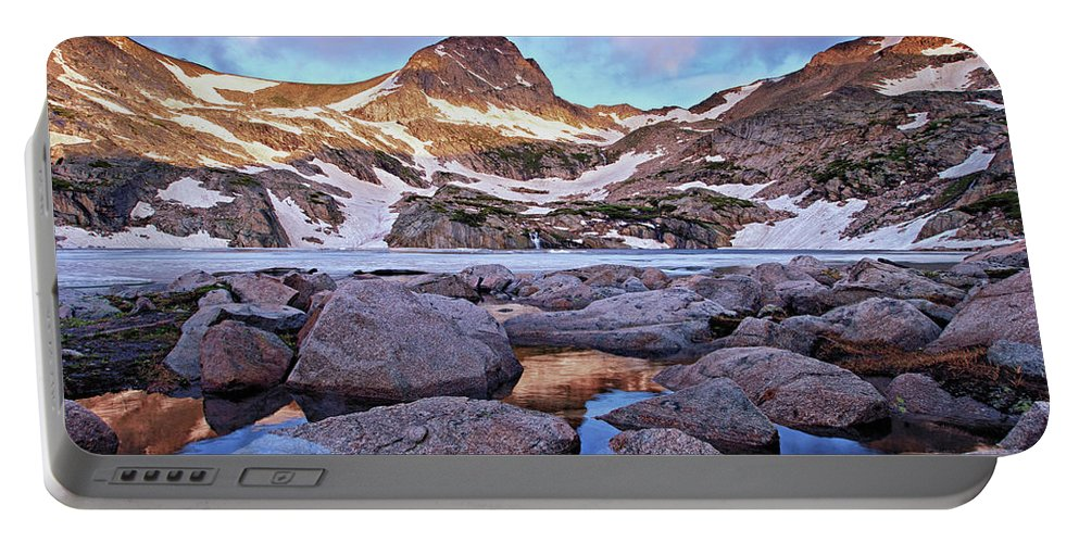 Mountain Portable Battery Charger featuring the photograph Blue Lake Sunrise by Brian Kerls