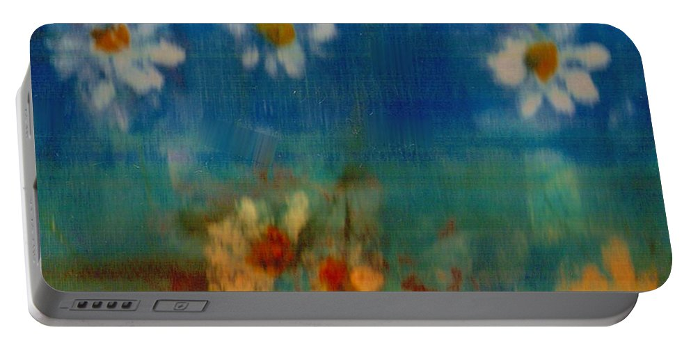 Oilpainting Portable Battery Charger featuring the painting Blue Landscape In Oil by Pepita Selles